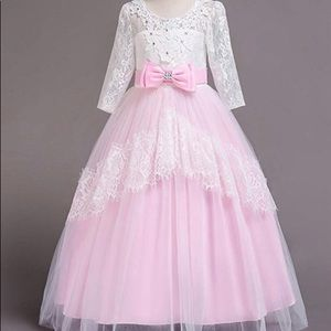 Other - New! Pink White Lace Tulle Victorian Long Dress